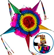 Extra Large Handmade Star Pinata + 30 Feet of Plastic Rope - Traditional Mexican Themed Party Decorations for Birthday Partie