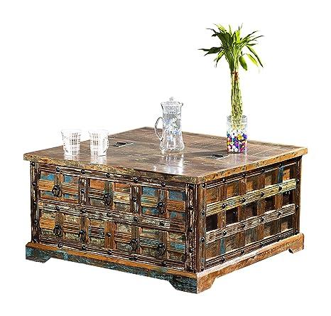 The Wood Times Couchtisch Tisch Massiv Vintage Look Delhi Holz FSC  Recycled, LxBxH 90x90x47 cm
