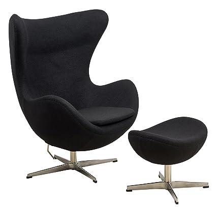 Amazoncom Leisuremod Arne Jacobsen Egg Chair Ottoman In Black