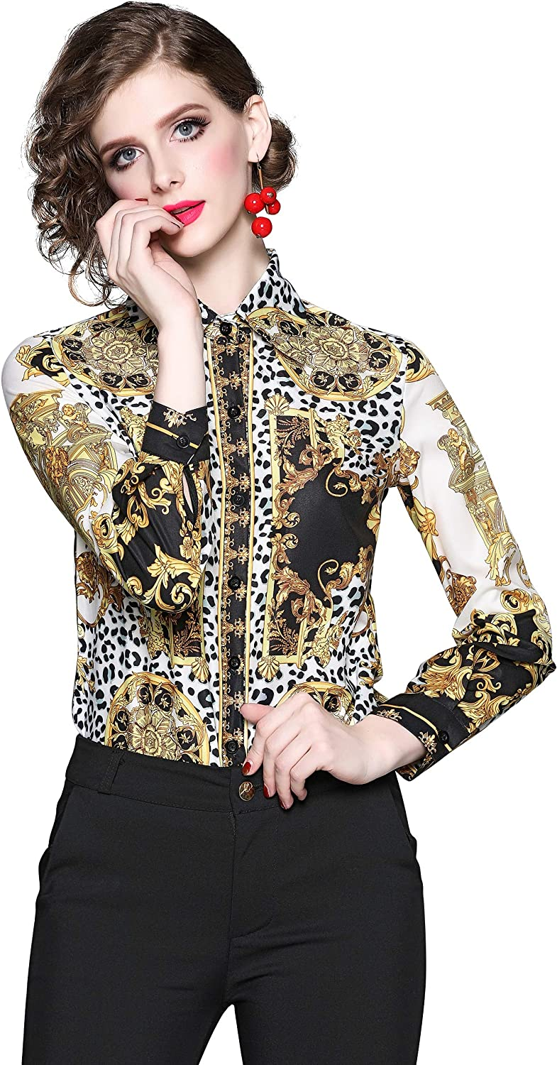 LAI MENG FIVE CATS Women's Long Sleeves Button up Baroque Print Blouse Shirts