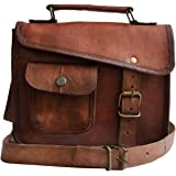 Small Leather Messenger Bag Shoulder Bag Cross Body Vintage Messenger Bag for Women & Men Satchel (7 x 9)