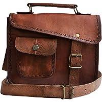 33 cm Hecha a mano Marron elegante Vintage Bolso de cuero del mensajero cada día Bolso de hombro cartera para tablets…