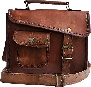 33 cm Hecha a mano Marron elegante Vintage Bolso de cuero del mensajero cada día Bolso de hombro cartera para tablets, ipad, charger perfecta para viaje y oficina regalo para hombres mujeres bolsa de
