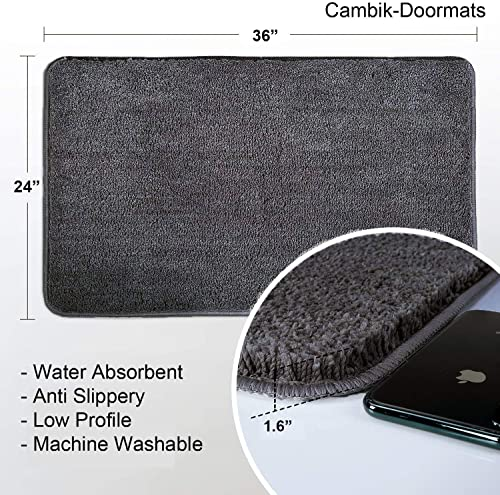 Cambik Super Soft Indoor Outdoor Kitchen Living Room Bathmat Non Slip Cotton Door Mat Entrance Rug Mud Snow Absorbent Doormat Dirt Trapper Shoes Scraper 24X36 Inch Dark Grey