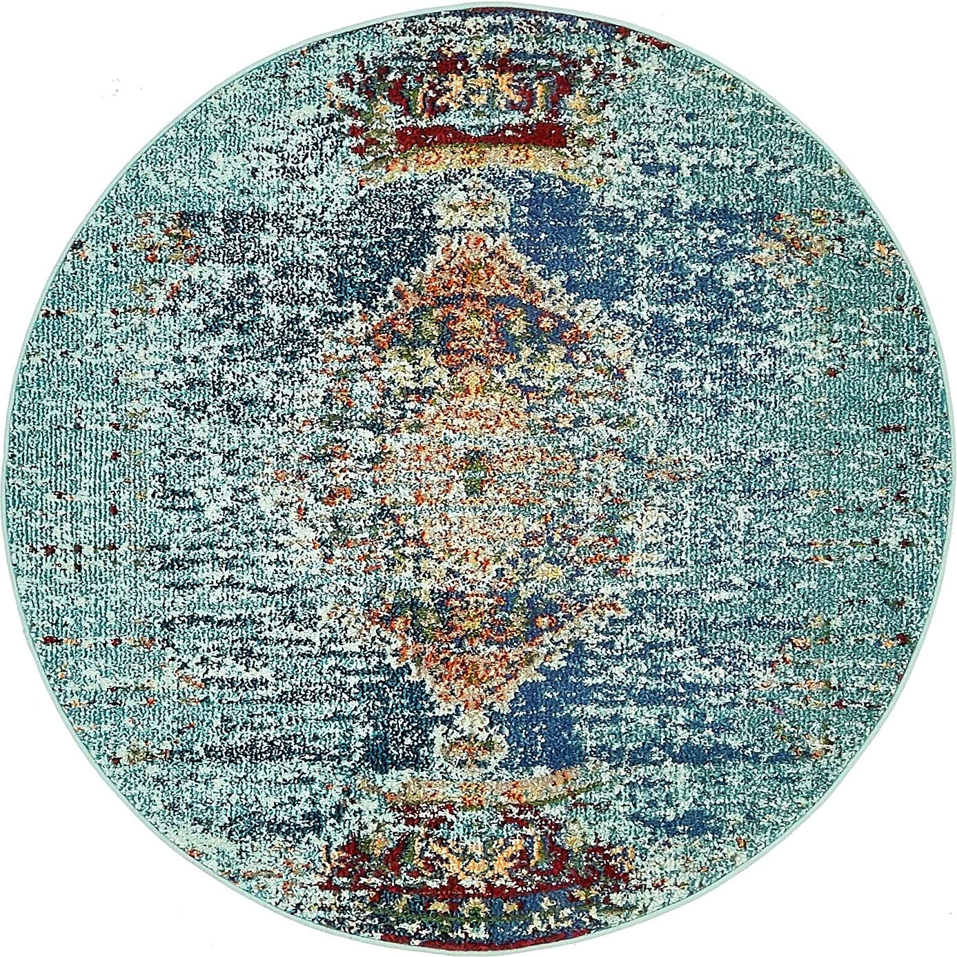 Unique Loom Vita Collection Traditional Over-Dyed Vintage Turquoise Round Rug 4 0 x 4 0