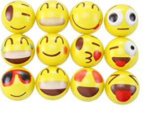 Totem World 24 Colorful Emoji Stress Balls - Squishy, Squeezable Fidget Toy for Kids Materials for Lasting Use - Cool Squeeze Balls Improve Anxiety and ADHD - Great Party Favors or Classroom Toys