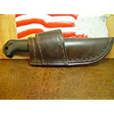 Custom Cross Draw Sheath for a Bk 2 and the BK 1O Knife Hand Tooled Dyed Dark Brown
