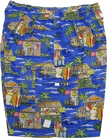 22ec5fea75 Tiki Bar Surf Shop Men's Hawaiian Elastic Waist Flap Pocket Cargo Shorts |  Amazon.com