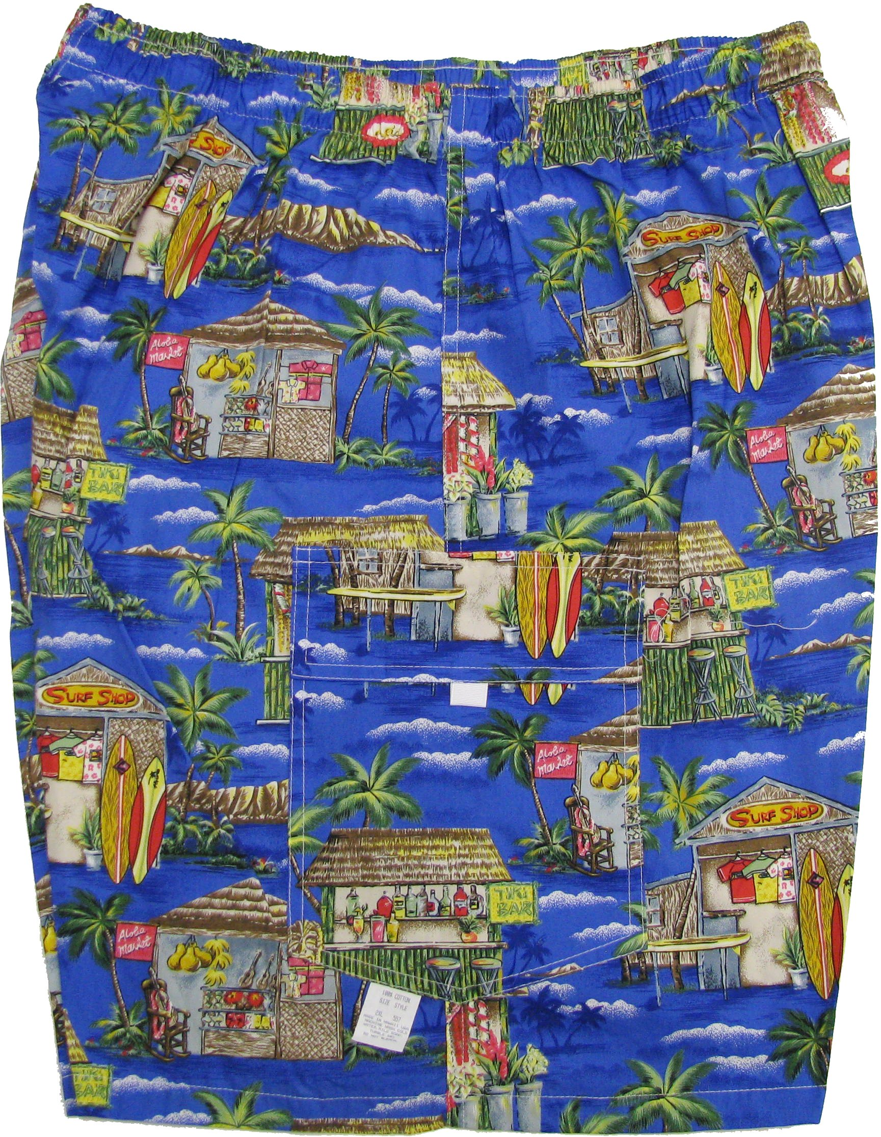 Men's Cargo Shorts - Tiki Bar Surf Shop Elastic Waistband Inside Drawcord Flap Pocket Cotton Shorts in Royal Blue - M