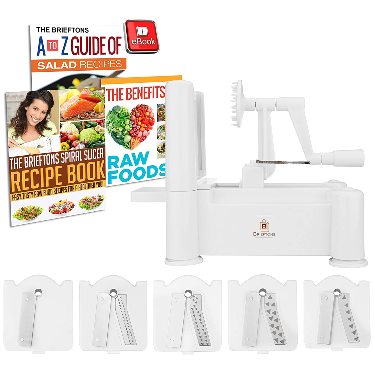 with 3 Recipe Ebooks Classic Best Veggie Pasta Spaghetti Maker for Low Carb//Paleo//Gluten-Free Meals : Strongest-and-Heaviest Duty Vegetable Spiral Slicer Brieftons 5-Blade Spiralizer White