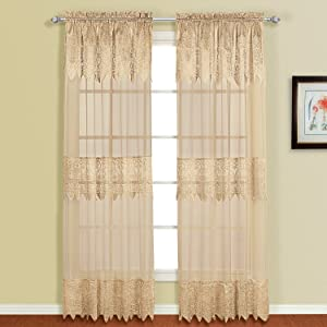 American Curtain and Home Patricia Window Curtain, 52-Inch by 63-Inch, Taupe