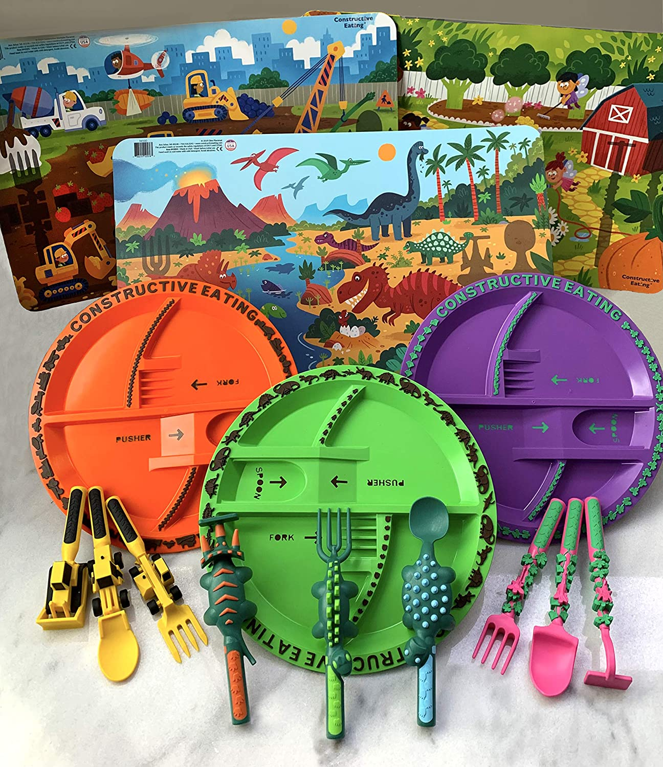 Constructive Eating Construction, Dinosaur, and Garden Fairy Combo with 3 Utensil Sets, Plates, and Placemats for Toddlers, Infants, Babies and Kids - Made in The USA Using Materials Tested for Safety