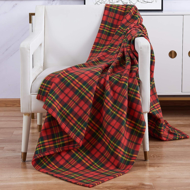 Diseño contemporáneo, manta polar manta de viaje coche 120 x 150 cm (de cuadros tartán rojo)