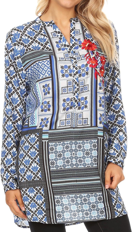 Sakkas Manu Womens Long Sleeve Mandarin Collar Blouse Top Light with Rhinestone