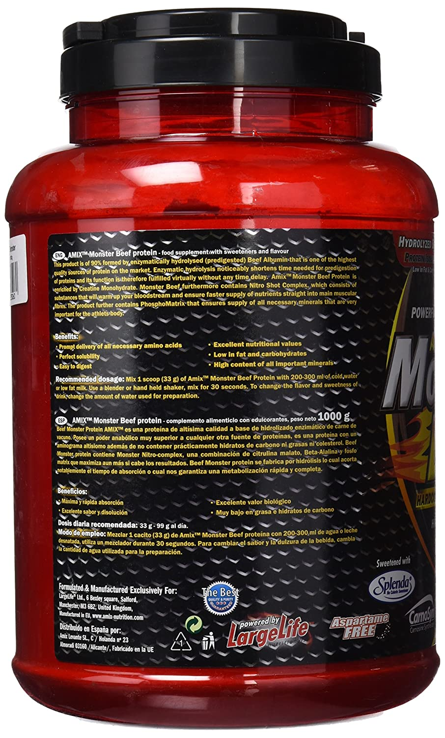 Amix Monster Beef Protein 1 kg Chocolate: Amazon.es: Salud y cuidado personal