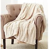 Amazon Brand – Pinzon Faux Fur Throw Blanket - 50 x 60 Inch, Ivory