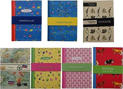 Robert Frederick- Pack 7 Libretas con tapa dura de Dibujo, con páginas de 1 ralla, tamaño A6 148mm x 105mm (Pack de 7 libretas): Amazon.es: Oficina y papelería