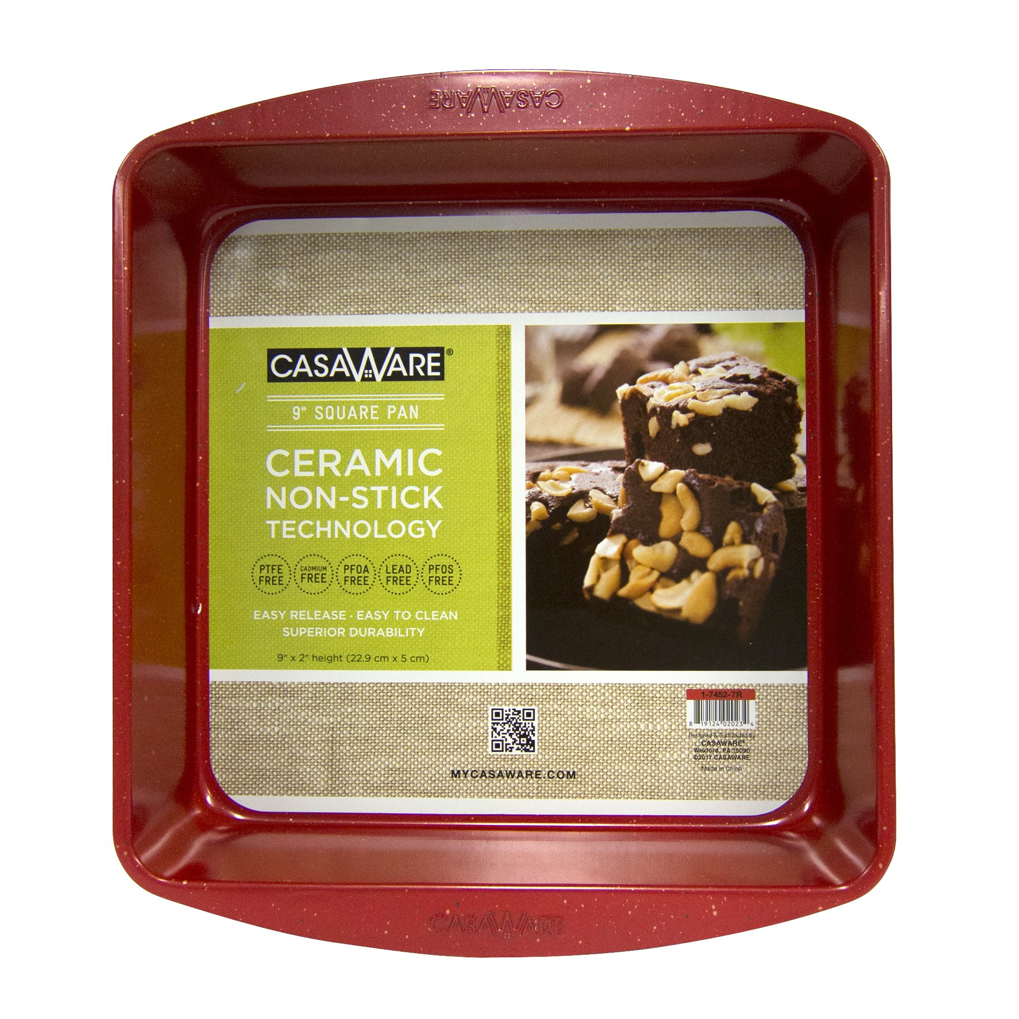 casaWare Ceramic Coated NonStick 9in Square Cake Pan (Red Granite)