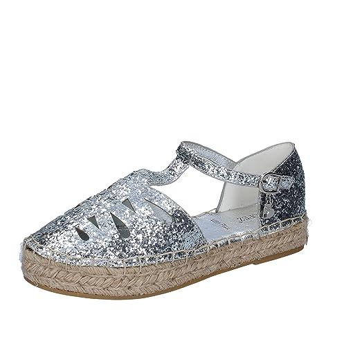 SARA LOPEZ - Alpargatas para Mujer Plateado Size: 40 EU: Amazon.es: Zapatos y complementos