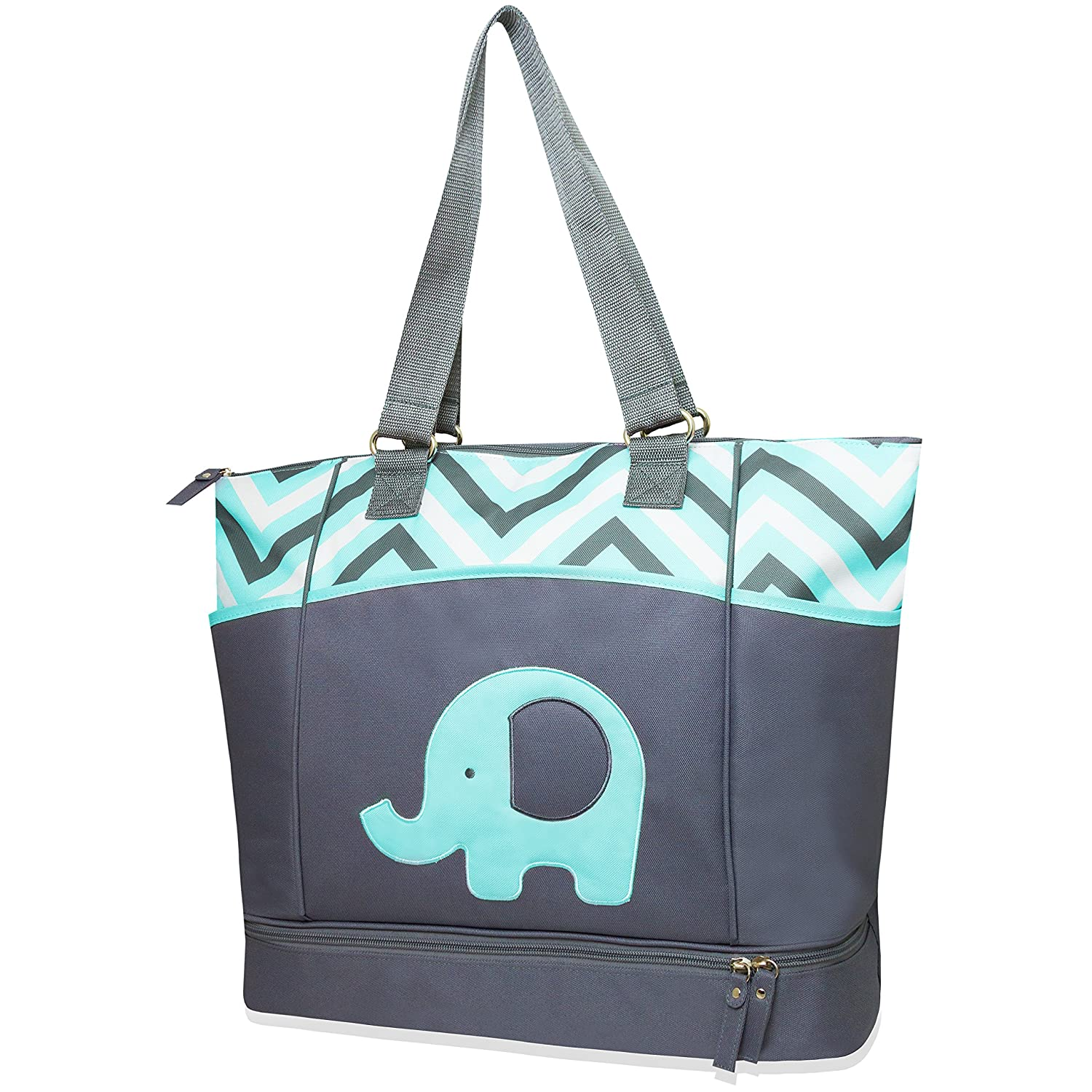 Tender Kisses Zigzag Elephant Diaper Tote with Rest Station - aqua, one size