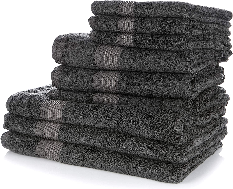 und Baumwolle Hotelqualit/ät mit Schlaufe f/ür Handtuchhalter Wunderwuschel Handtuch 50x100cm 2er Set aus Bambus-Viskose 60/% 40/% - 510g Uni Farben in Grau Anthrazit