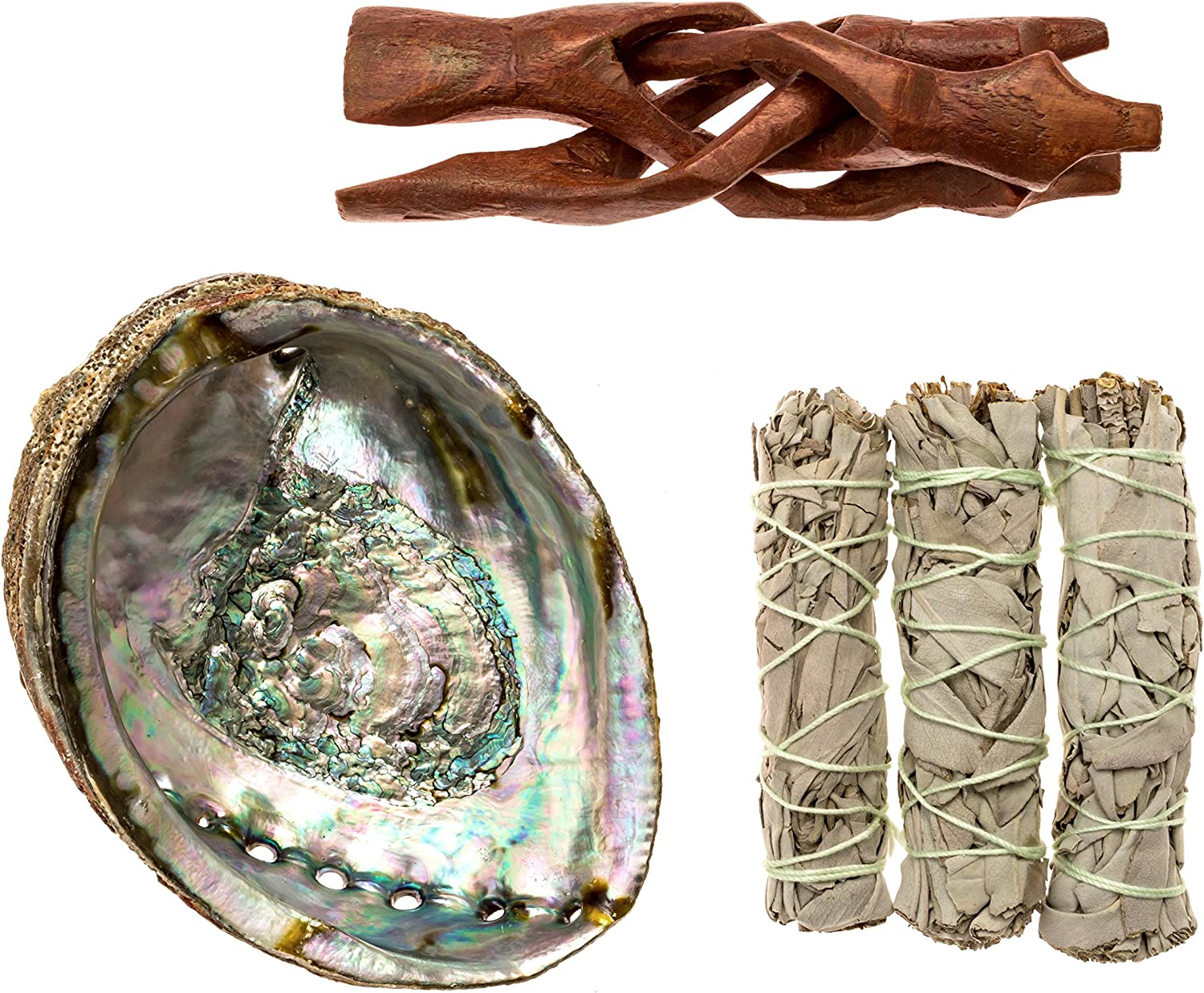 Premium Bundle with 5.5 Inch or Larger Abalone Shell, Stained Wooden Tripod Stand, and 3 California White Sage Smudge Sticks for Incense Burning, Home Fragrance, Energy Clearing, Yoga, Meditation