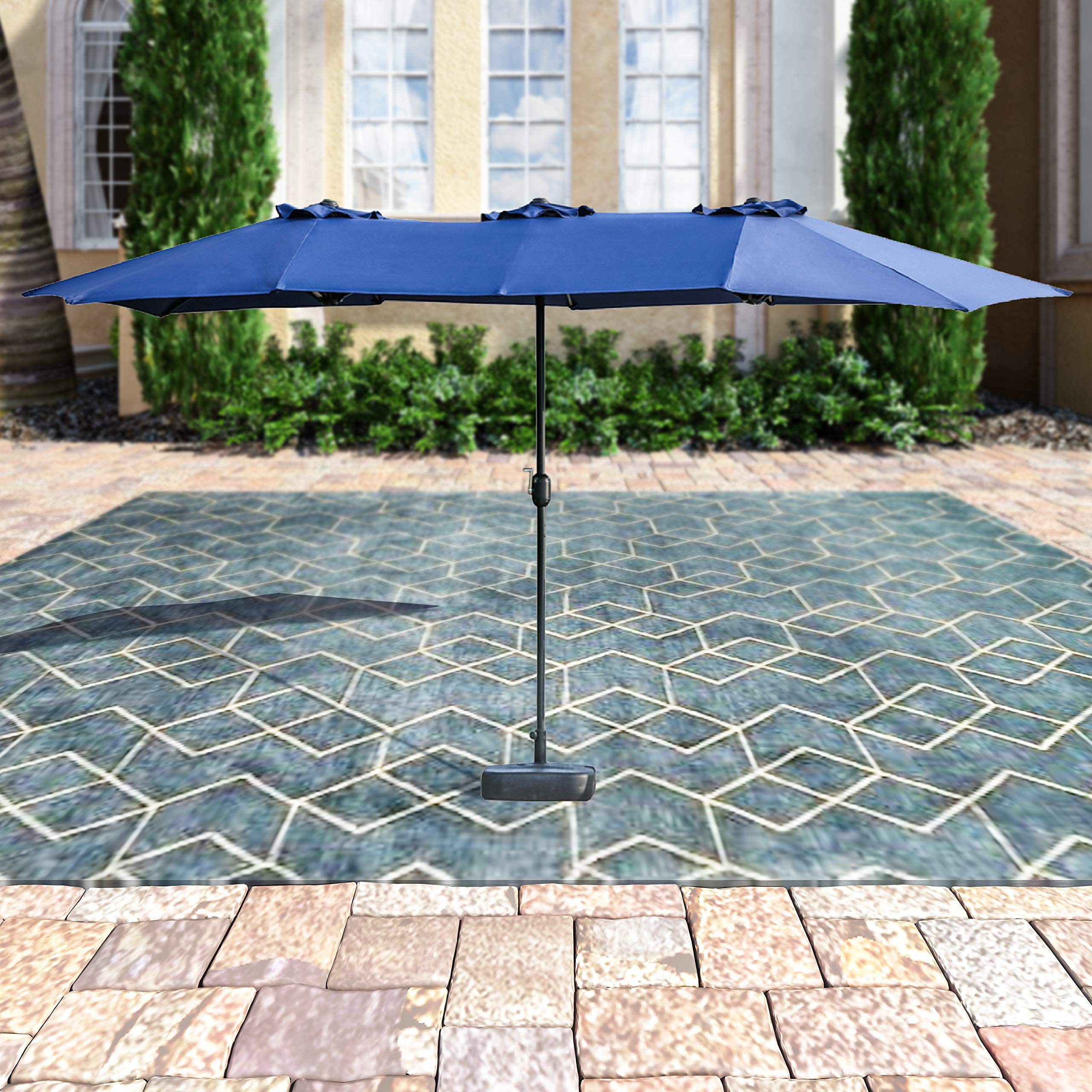 Patio Festival ® Double-Sided Outdoor Umbrella,15x9 ft Aluminum Garden Large Umbrella with Tilt and Crank for Market,Camping,Swimming Pool (Middle, Blue) by Patio Festival ®