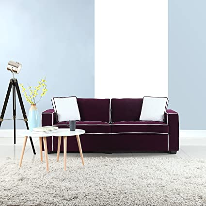 Modern 79u0026quot; Inch Two Tone Colorful Velvet Fabric Living Room Sofa ...