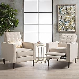 Christopher Knight Home 300976 Marston Mid Century Modern Fabric Recliner (Set of 2) (Wheat)