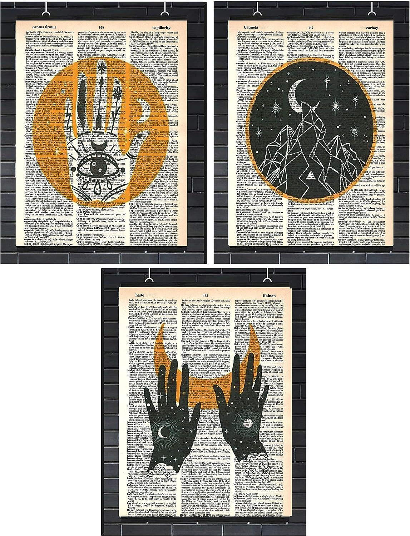 Occult Wall Decor Set 0f (3) Spiritual Mystical Prints Magic Hand Pagan Dictionary Art Prints