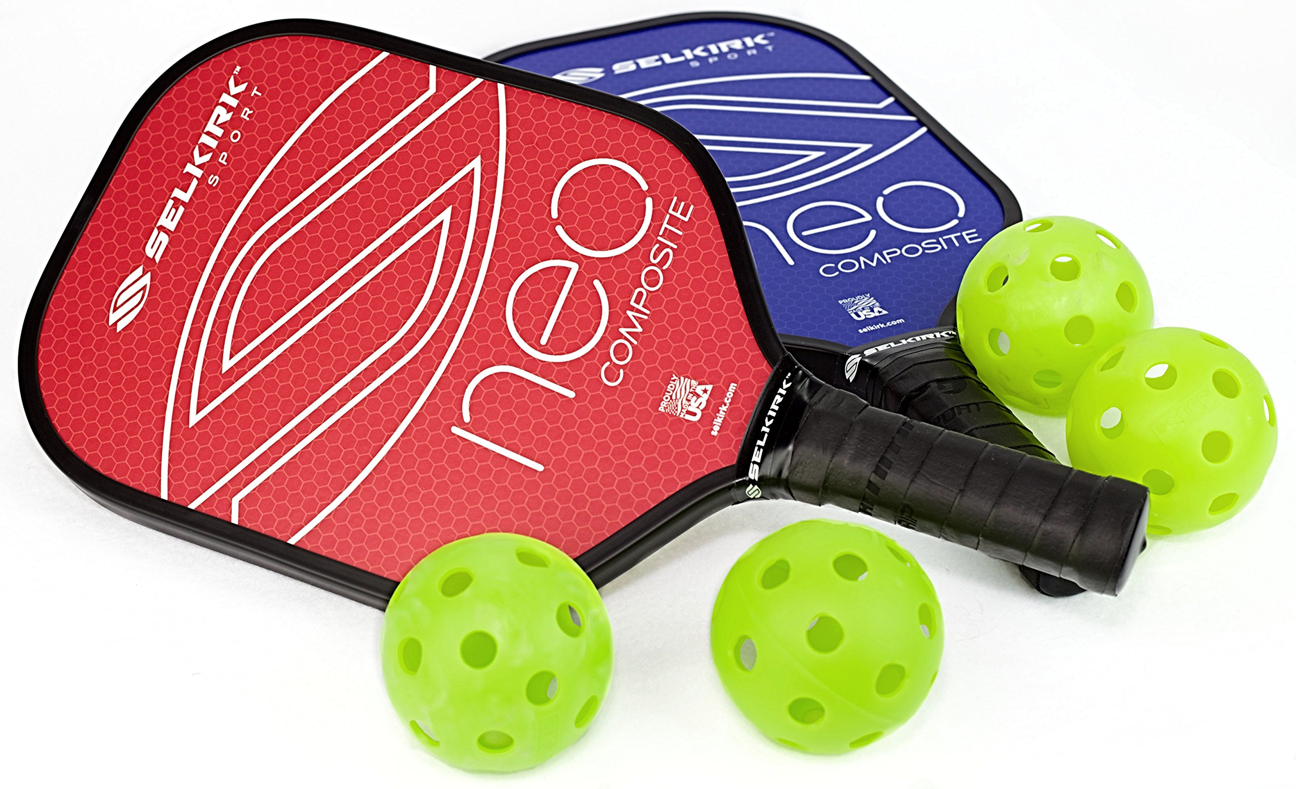 Selkirk NEO Composite Pickleball Paddle Set (2 Paddles + 4 Balls) - USAPA Approved - PowerCore Polymer Core - Composite Surface - EdgeSentry Protection - ThinGrip Handle - Pickleball Racket/Racquet. by Selkirk Sport
