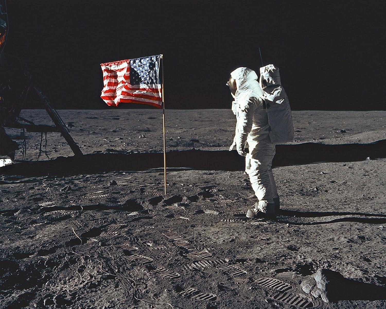 New 8x10 NASA Photo: Buzz Aldrin Plants U.S. Flag on Moon