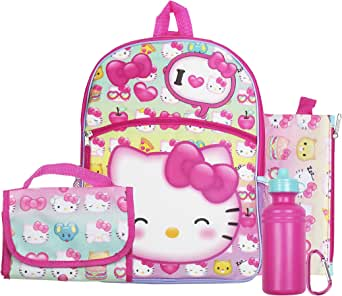 Hello Kitty Pink Bows 16 Backpack Back to School Essentials Set