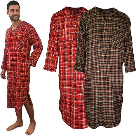 Latuza Mens Plaid Nightshirt Cotton Sleep Shirt