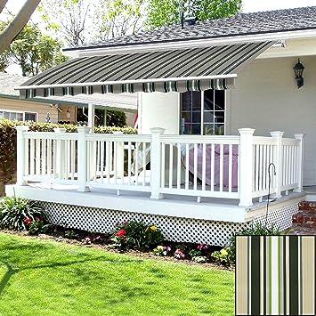 Toldo eléctrico de Green Bay, ideal para patio trasero, toldo de accionamiento manual o eléctrico, para dar sombra, resistente a los rayos UV: Amazon.es: Jardín