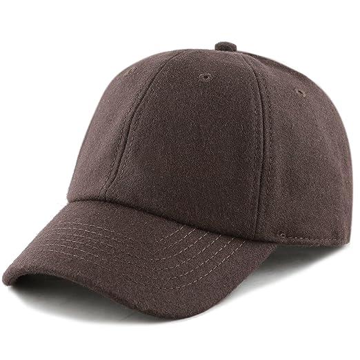 f3632b480b41d1 The Hat Depot Unisex Wool Blend Baseball Cap Hat (Dark Brown) at ...