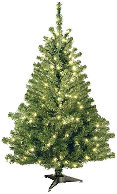 national tree 4 foot kincaid spruce tree with 100 clear lights kcdr 40lo - Already Decorated Christmas Trees