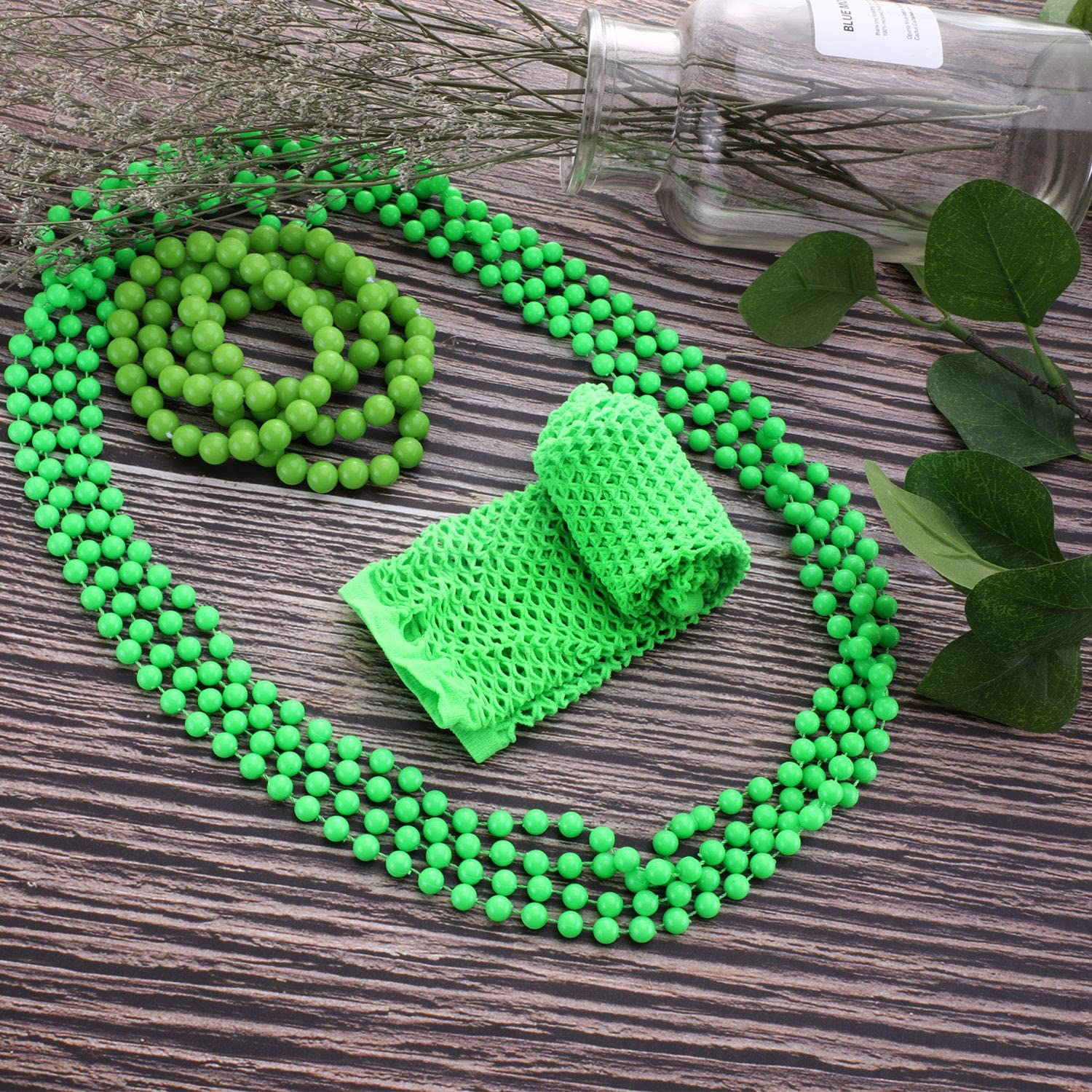Green Glove Necklace Bracelet Set St 4 Pieces Green Bead Necklaces Patricks Day Party Costume Accessory 4 Pieces Green Bead Bracelets Including Green Gloves