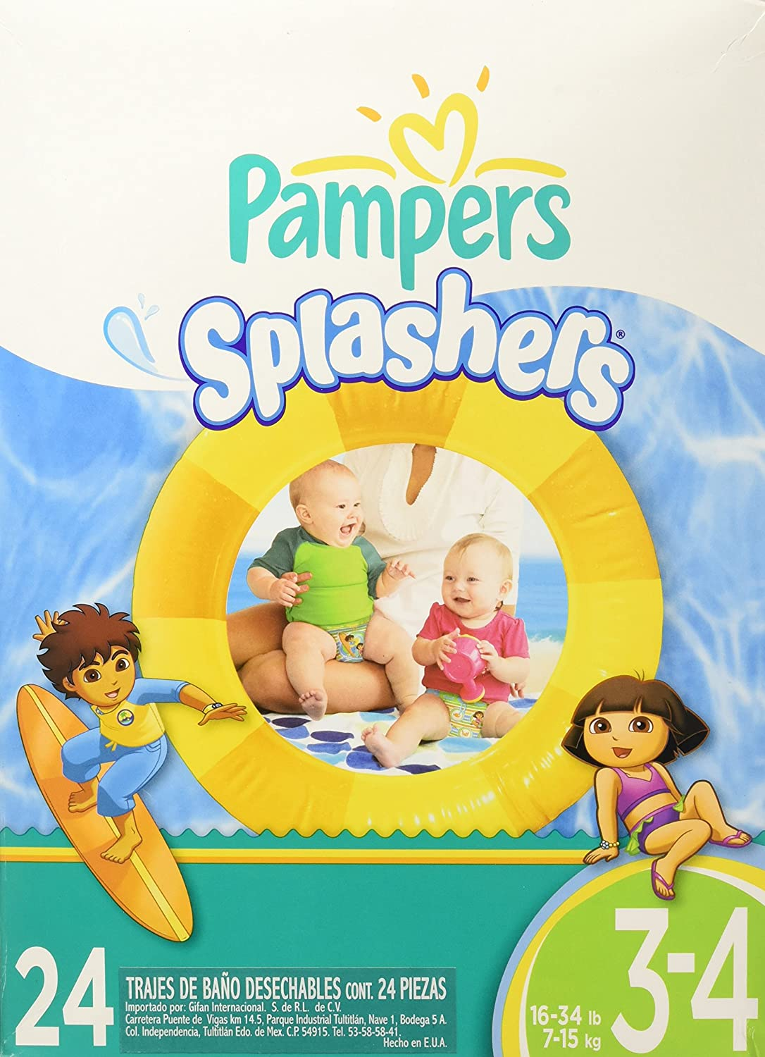 Pampers Splashers Disposable Swim Pants Diapers Size 5, 22-Count 37000505822