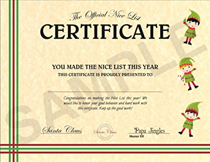 Christmas Certificate.North Pole Letters Personalized Christmas Nice List Certificate