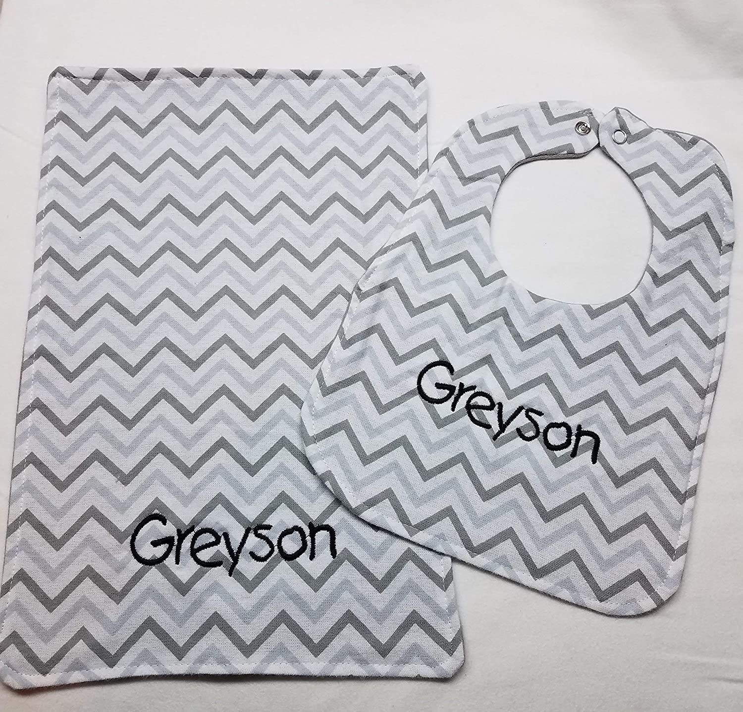 New Baby Bib Cloth Set with Personalized Name Grey Chevron