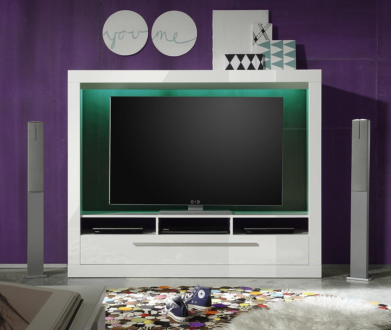 Tv wohnwand wei artikel mediawand wohnwand edge wei for Wohnwand fun plus