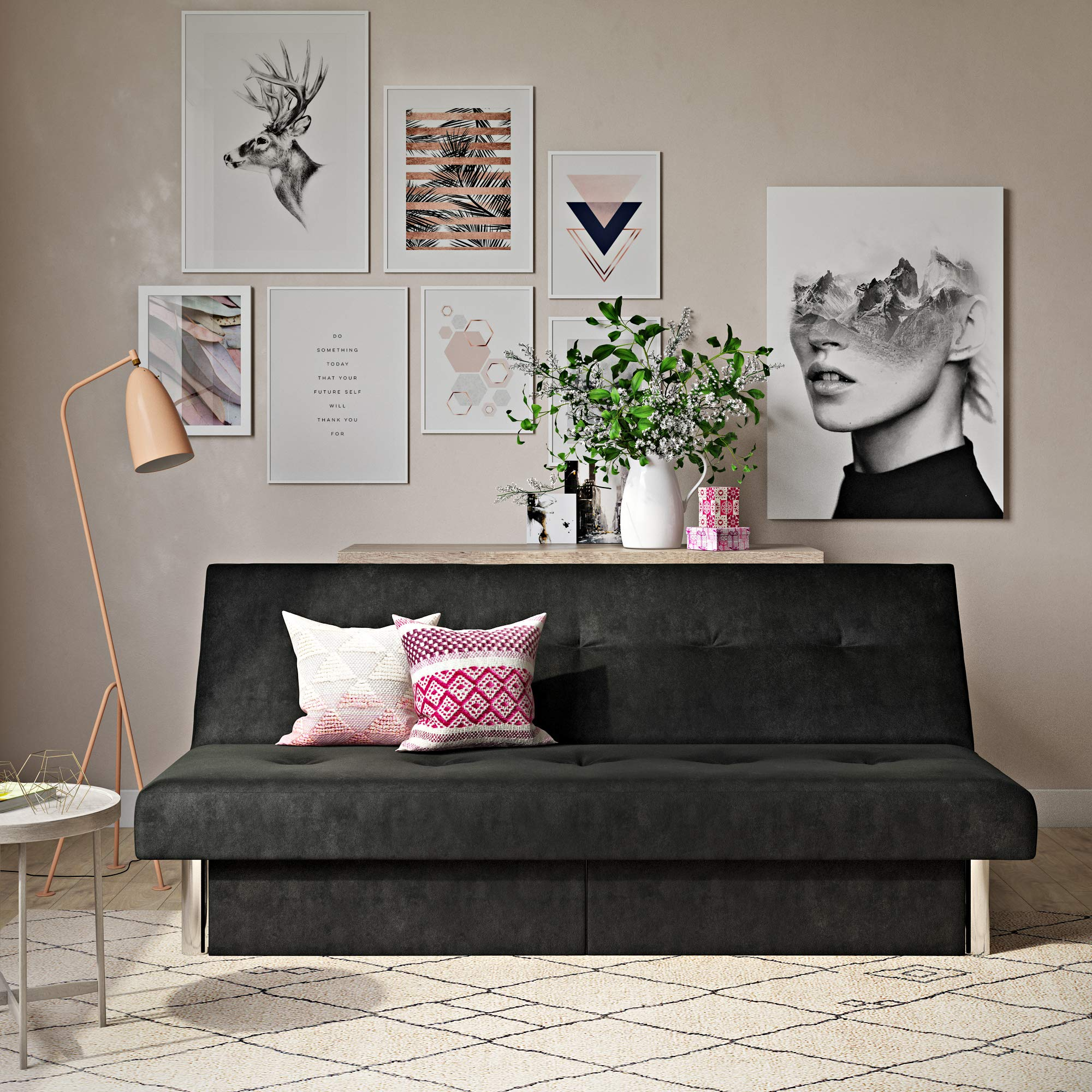 DHP Sola Convertible Sofa Futon with Space Saving Storage Compartments, Chrome Legs and Upholstered in Rich Black Microfiber by DHP