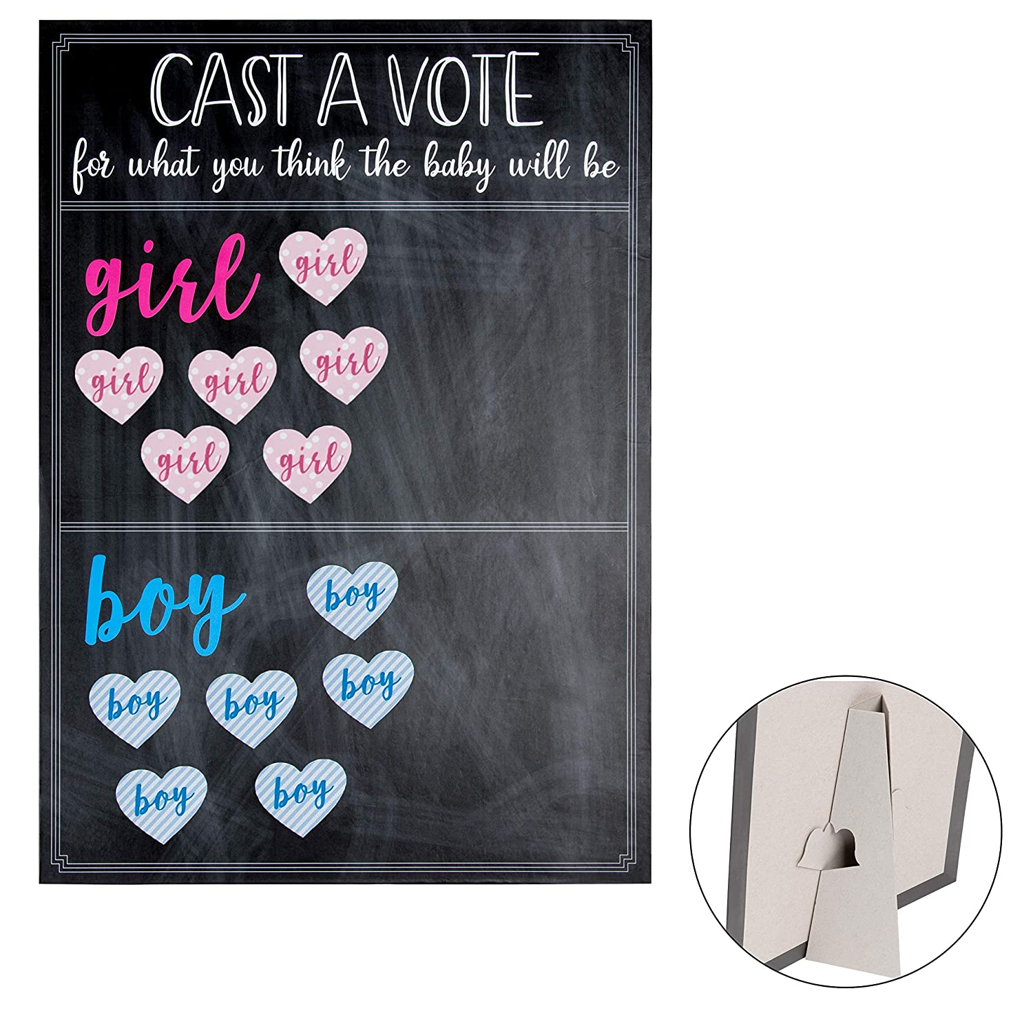 Juvale Gender Reveal Board - Cast A Vote Voting Board with Stand, Includes 60 Girl and 60 Boy Stickers, Gender Reveal Party Supplies, Chalkboard Design, Black, 12 x 17 Inches