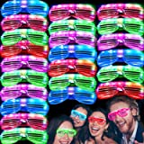 iGeeKid 50 Pack LED Glasses Light Up Party Glasses Glow in The Dark Party Supplies Shutter Shades Neon Flashing Glasses Carni