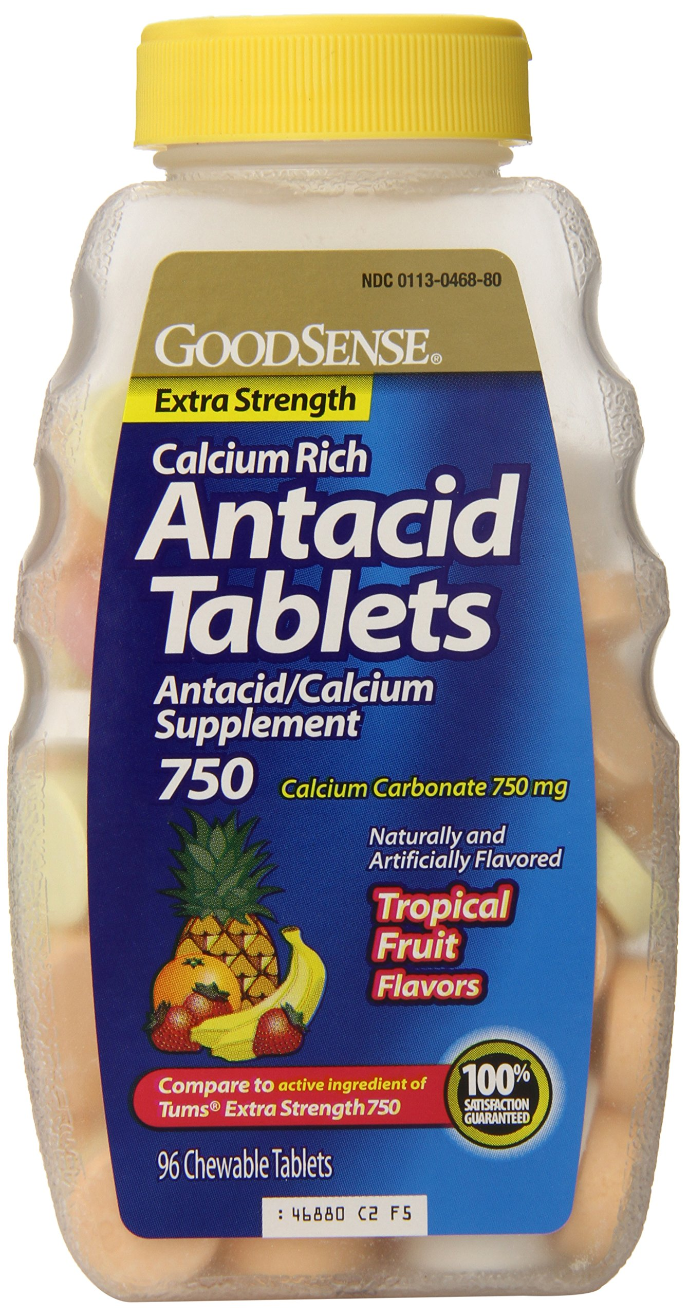 GoodSense Calcium Antacid Extra Strength Tablets, Tropical Flavored, 750 mg, 96-Count (Pack of 24) by Good Sense