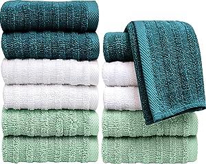 PH Pleasant Home 12 PK Up Down Wash Cloth Set, (Mint & Green Combo)