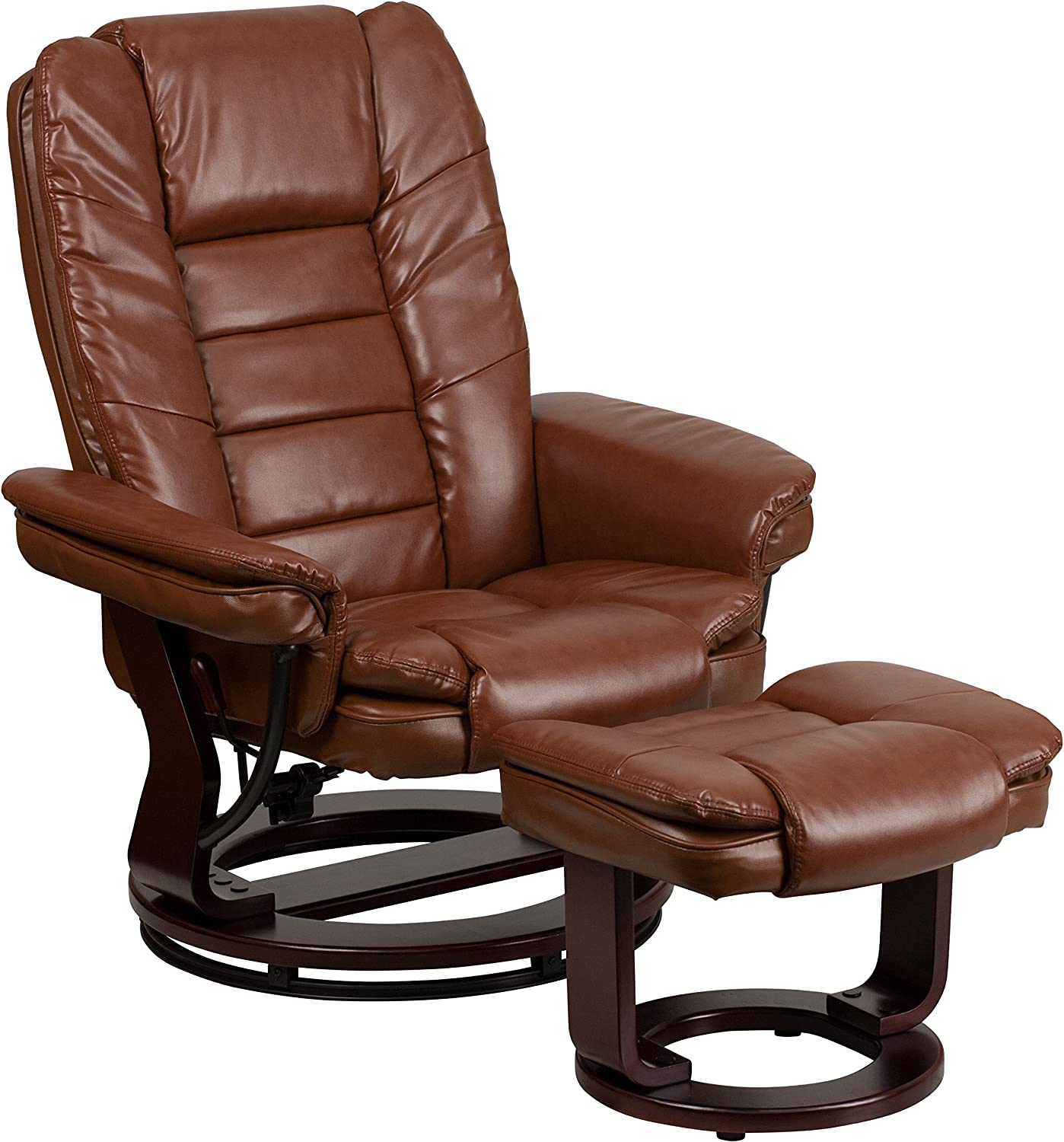 Flash Furniture Contemporary Black Leather Recliner /& Ottoman W//Wood Base NEW