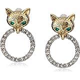 "Betsey Johnson ""Fox Trot"" Pave Ring Drop Earrings"