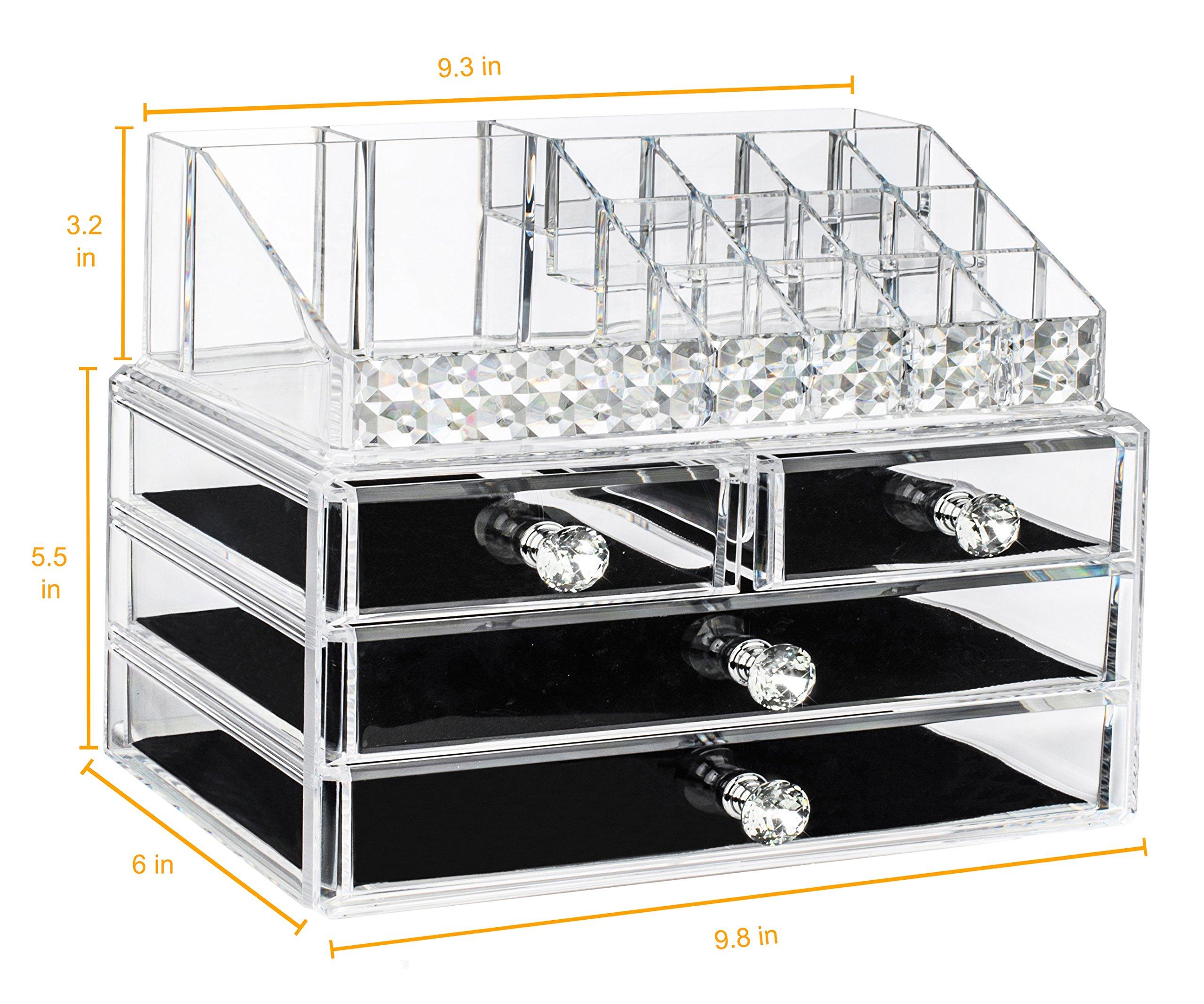 EC.TEAK Makeup Organizer 2 Pieces Acrylic Jewelry & Cosmetic Storage Display Boxes with Diamond Shape Handle (ET01)